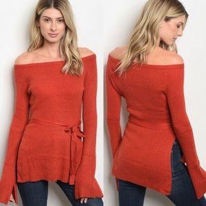 Tops - Off-Shoulder Orange Sweater Size Medium